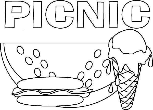 Free coloring pages of picnic in park