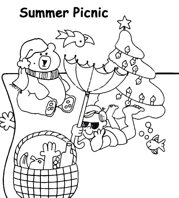 Free coloring pages of picnic foods