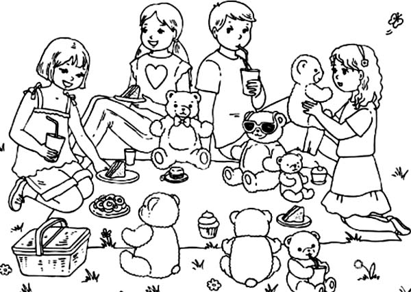 Group of Kid and Their Teddy Bear Picnic Together Coloring