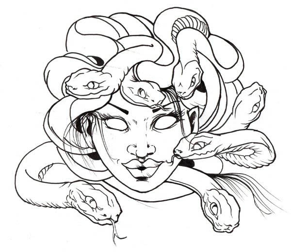 Full Body Medusa Tattoo Coloring Pages