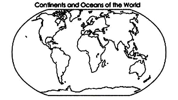 Continent and Oceans of the World in World Map Coloring