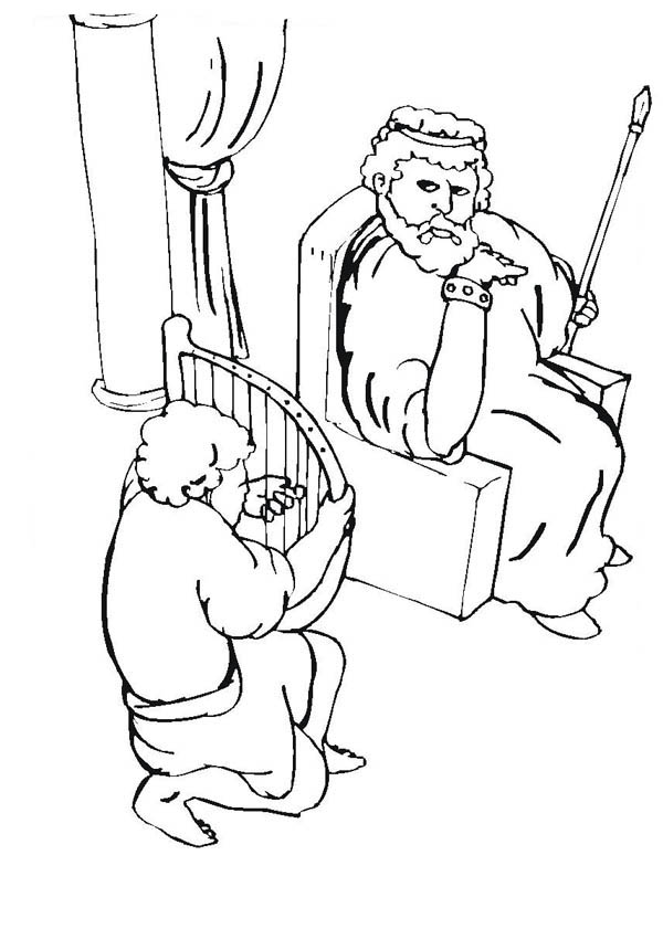 David Hides In Cave Coloring Coloring Pages