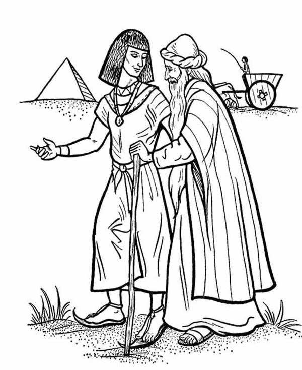 Esau and Isaac Walking Together in Jacob and Esau Coloring