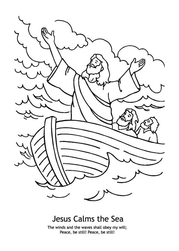 Jesus Calms the Sea in Miracles of Jesus Coloring Page