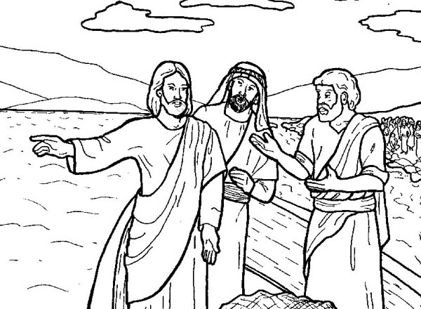 Jesus Tells Disciple to Fish in Miracles of Jesus Coloring
