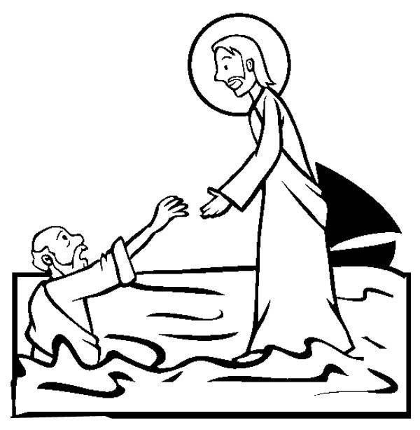 Jesus Walking on the Water is Miracles of Jesus Coloring