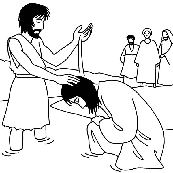 Printable Coloring Page Of John The Baptist And Jesus