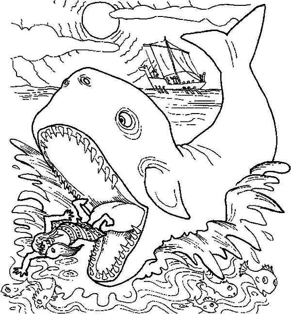 Jonah Get Out from Whale Stomach in Jonah and the Whale