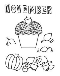 November Cupcake Coloring Page - NetArt