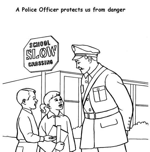 Police Officer Helping Kid Cross the Road Coloring Page