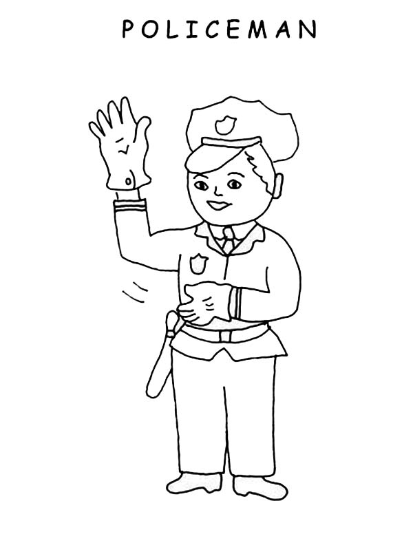 Free police woman uniform coloring pages
