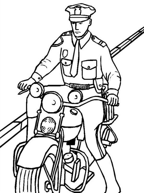 motorcycle police Colouring Pages