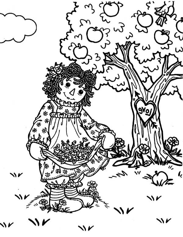 Raggedy Ann and Andy in the Deep Deep Woods Coloring Page