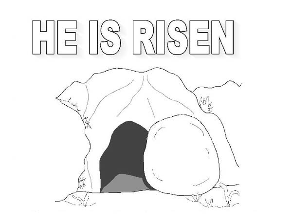 The Tomb Where Jesus Rise in Jesus Resurrection Coloring