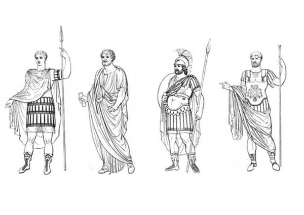 Different Clothes of Ancient Rome Figures Coloring Page