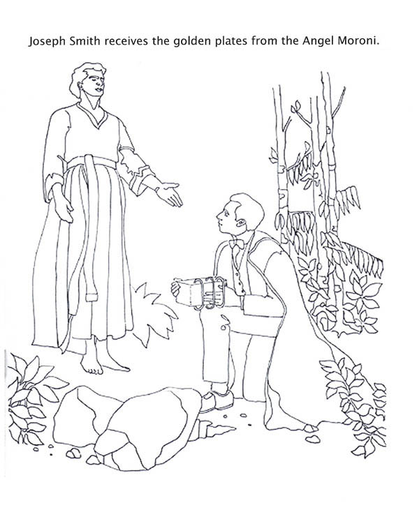 Angel Moroni Give Joseph Smith the Golden Plates Coloring