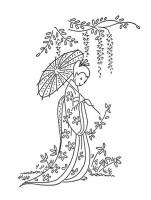 Geisha Under Blooming Tree Coloring Page   NetArt