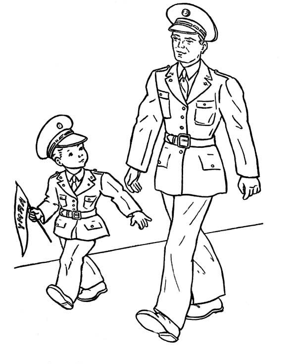 Little Kid and His Dad Celebrating Veterans Day Coloring