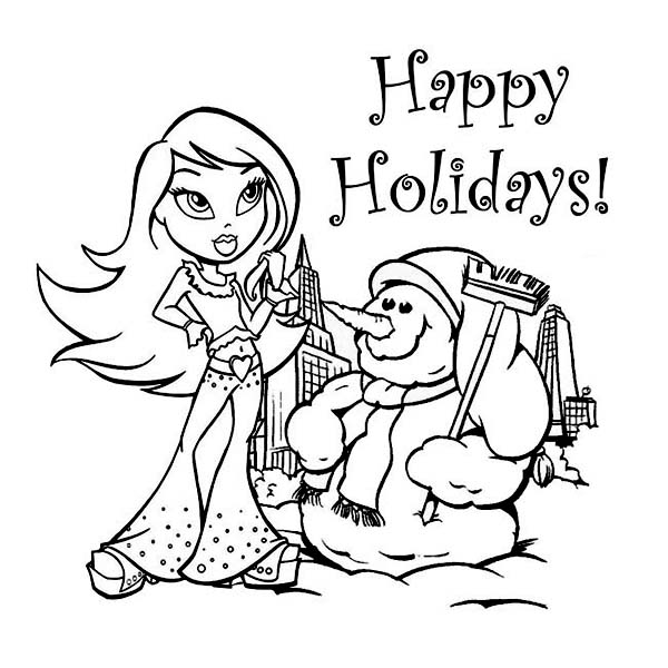A Young Girl and Mr Snowman Says Happy Winter Season