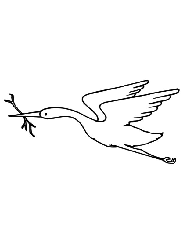 Crane Bird Netart Sketch Coloring Page