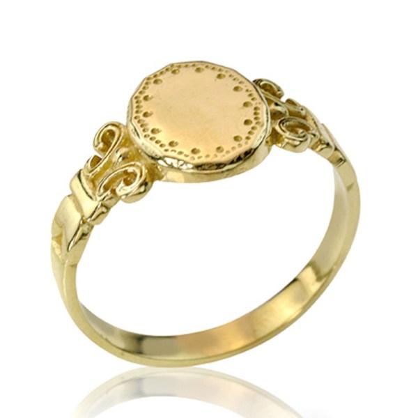 14k Gold Classic Art Nouveau Signet Ring