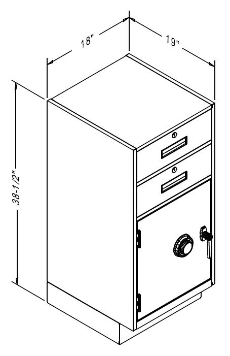 Fenco Teller Pedestal with 2 Locking Box Drawers, Frame