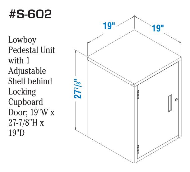 Fenco Silverline Lowboy Pedestal Unit with 1 Adjustable