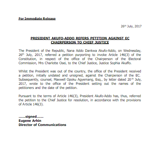 Akufo-Addo forwards petition against Charlotte Osei to CJ