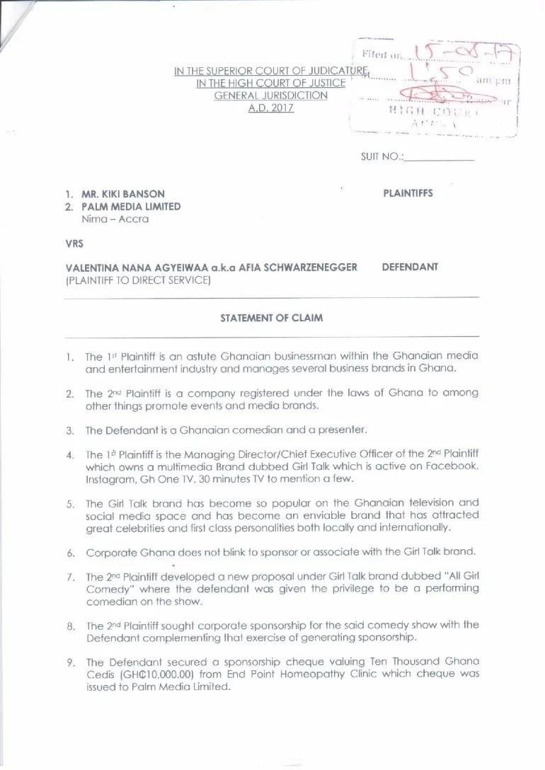 Kiki Banson sues Afia Schwarzenegger for defamation, demands GHC 1m 2