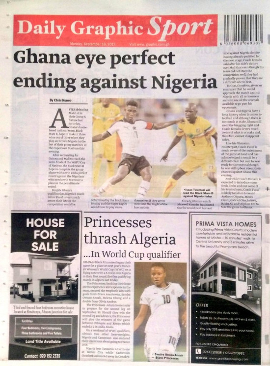 Ghanaian headlines in the newspapers today