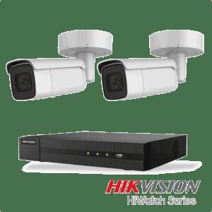 Netcam Hikvision pakke med 2 kameraer IP utendørs 8 megapixel og opptaker