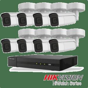 Netcam Hikvision pakke med 8 kameraer IP utendørs 8 megapixel og opptaker