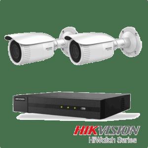 Netcam Hikvision pakke med 2 kameraer IP justerbar bildevinkel 4 megapixel & opptaker