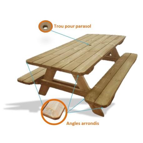 table pique nique bois natura