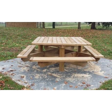 table pique nique en bois carree 8 personnes