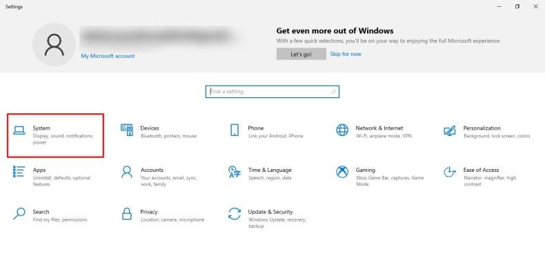 Captura de pantalla de la pestaña Sistema en la configuración de Windows 10