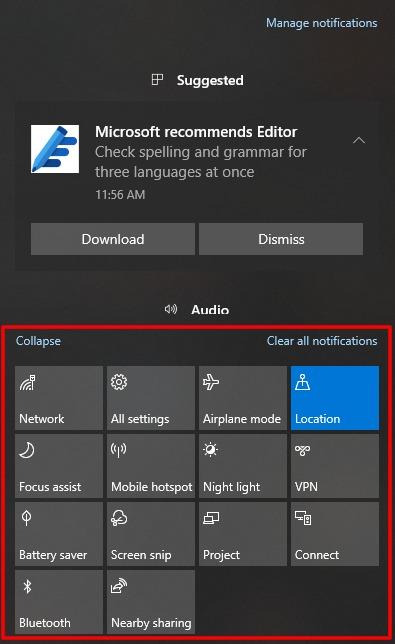 Captura de pantalla de Acciones rápidas extendidas en el Centro de actividades de Windows 10