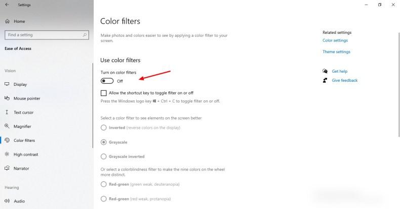 Captura de pantalla de los filtros de color en Windows 10