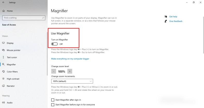Captura de pantalla de la función de lupa en Windows 10