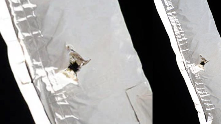 Imagen de agujero causado por escombros en el brazo de la Estación Espacial Internacional