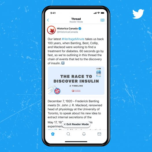 Captura de pantalla de la funcionalidad del modo Lector en el servicio Twitter Blue
