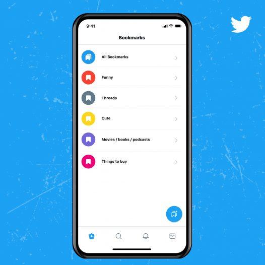 Captura de pantalla de la función de marcador en el servicio azul de twitter