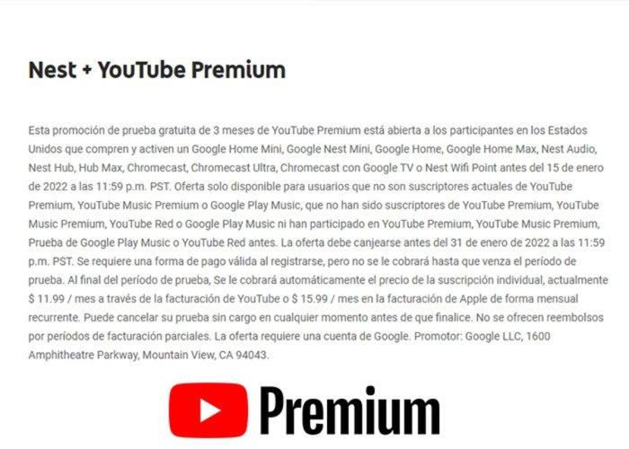 YouTube Premium gratuito con productos de Google