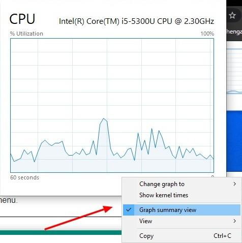 Captura de pantalla de la vista de resumen del gráfico en el Administrador de tareas en Windows 10