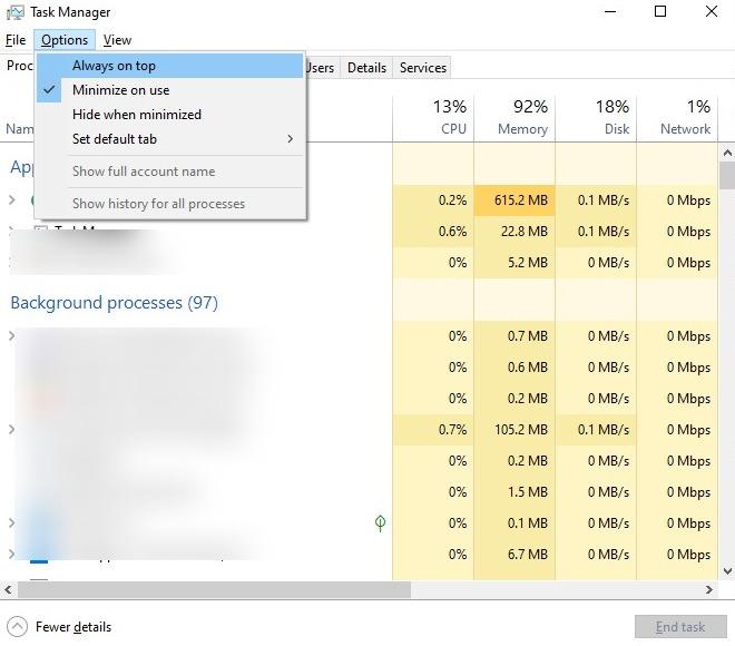 Captura de pantalla de Siempre visible en el Administrador de tareas de Windows 10
