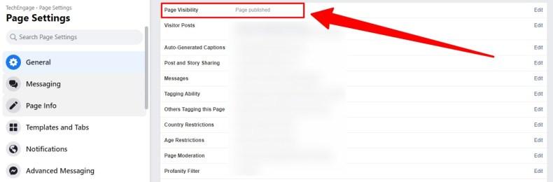 opción para anular la publicación de la página