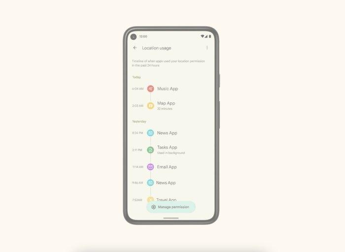 Panel de privacidad de Android 12