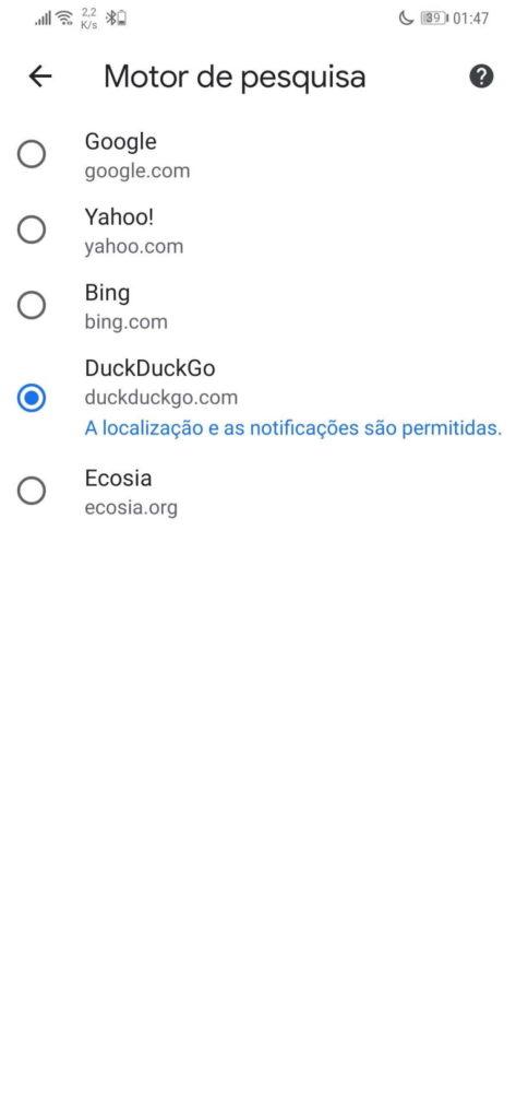 motor de búsqueda chrome android google