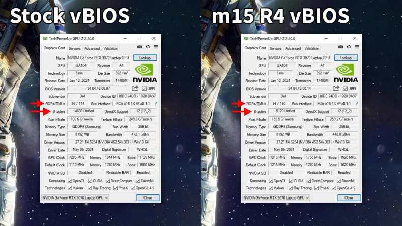 Alienware vBIOS elimina los núcleos CUDA de RTX 3070