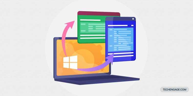 Un icono de portátil con sistema operativo Windows con aplicaciones que salen de la pantalla